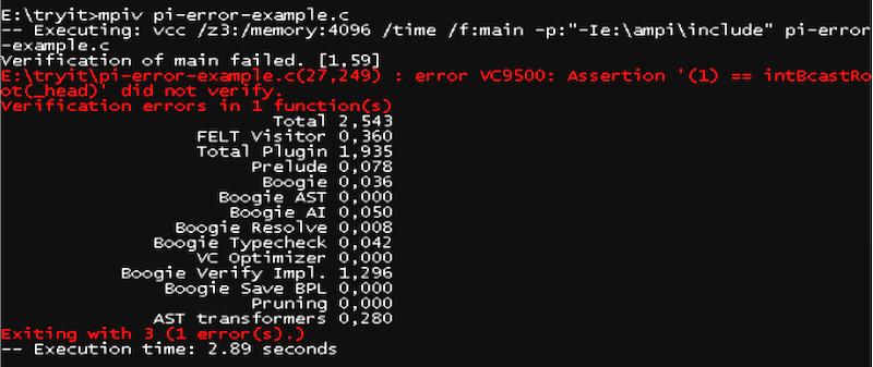 VCC spots an error
